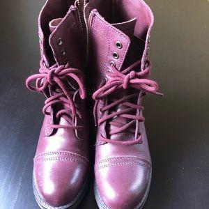 Steve Madden troopa/combat burgundy boots, sz 8.5